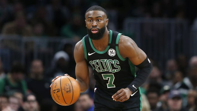 Boston Celtics' Jaylen Brown plays against the Houston Rockets during an NBA basketball game in Boston, Saturday, Feb. 29, 2020. Brown has been vocal in his activisim for social justice and systemic racism and even drove down to Atlanta, near his hometown of Marietta, Georgia to participate in peaceful protests against the killing of George Floyd.