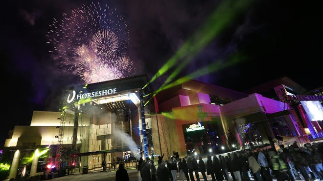 Fireworks and big crowds welcomed Horseshoe Casino's opening in Cincinnati. It has generated $200 million in revenue in its first year and paid $50 million in jackpots.