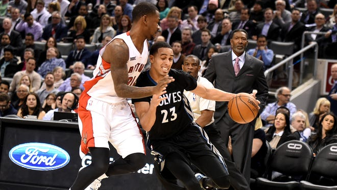Toronto Raptors forward Terrence Ross guards Minnesota Timberwolves guard Kevin Martin (23) in a recent game. Ross said his team's defense has to improve for his team to make a run in the playoffs.