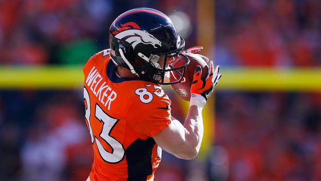 Broncos WR Wes Welker caught four passes in the AFC Championship Game.