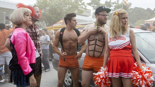 """Ike Barinholtz, Rose Byrne, Carla Gallo, Seth Rogen, and Zac Efron in """"Neighbors 2: Sorority Rising."""" The movie opens Thursday at Regal West Manchester Stadium 13, Frank Theatres Stadium 13 and R/C Hanover Movies."""