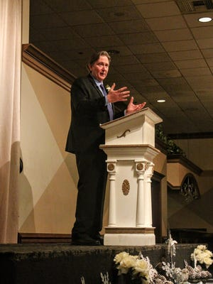 Doug Stanton speaks at the Livonia Town Hall event Wednesday morning.