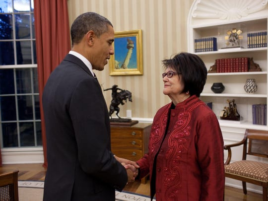 President Barack Obama meets with Elouise Cobell in the Oval Office in 2010. Obama awarded Cobell, who died in 2011, a Presidential Medal of Freedom.