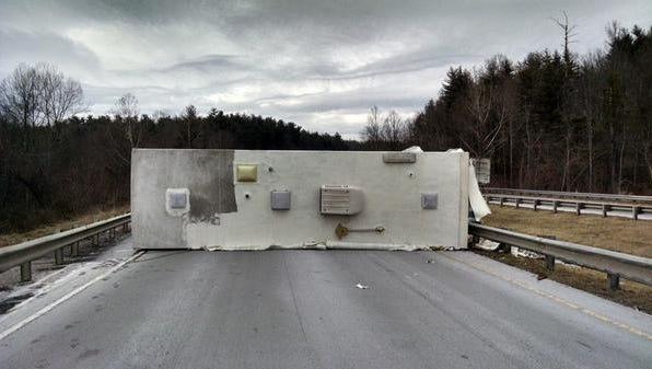 Camper overturned on Interstate 26.