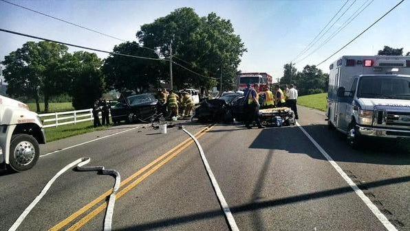 Emergency crews responding to the Franklin Road crash.