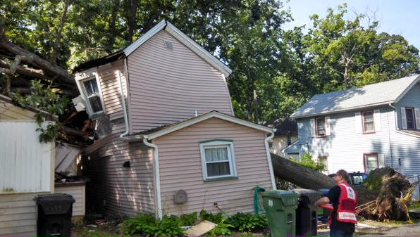 A fallen tree crashed into this house in Pitman.