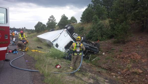 A semi-truck rolled for an unknown reason on Interstate 40.