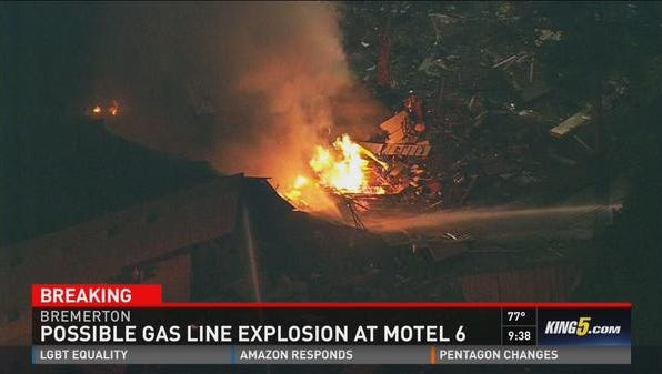 A Motel 6 in Bremerton, Wash., was rocked by an explosion late Tuesday.