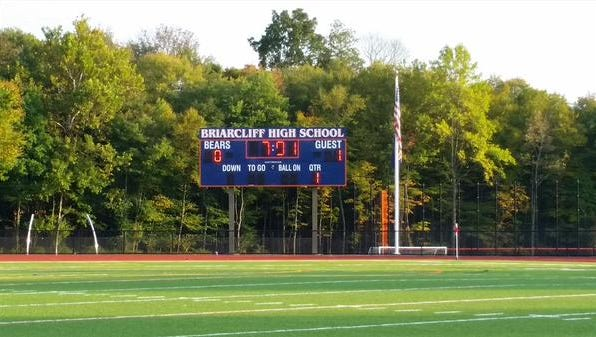 The scoreboard at Briarcliff High School.