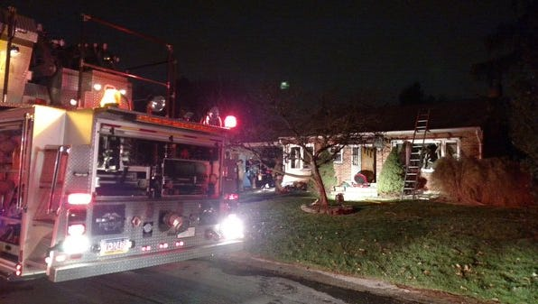 Firefighters on scene of a reported fire in Springettsbury on Thursday night.