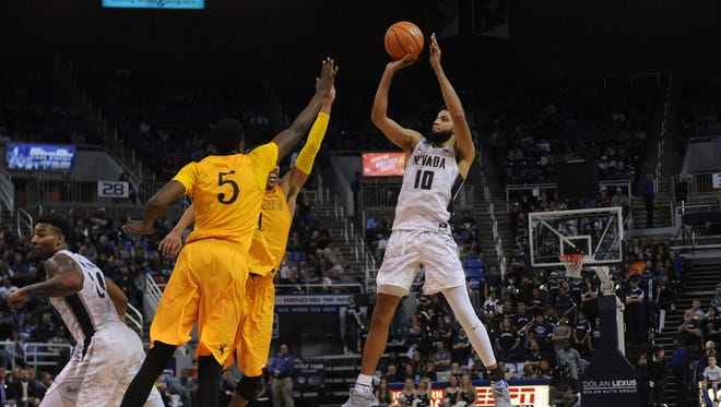 Nevada takes on Wyoming during their basketball game at Lawlor Events Center in Reno on Jan. 3, 2018.