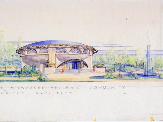 This drawing is a rendering by architect Frank Lloyd
