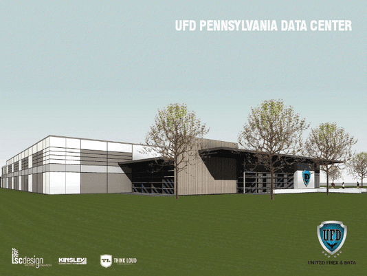 A rendering showing the front of one of four data centers United Fiber & Data plans to build in Pennsylvania. The fiber-optic networking company is owned in part by members of Think Loud Development, which includes three members of the band Live and developer Bill Hynes.
