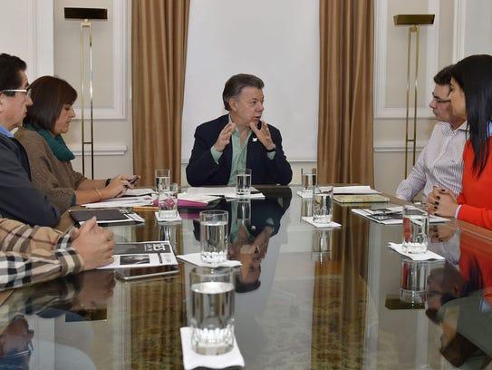 Colombia President  Juan Manuel Santos is shown in