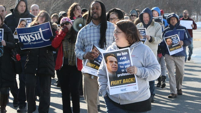 Teachers and staff rally against Gov. Andrew Cuomo's schools budget and other education reforms at Nyack High School on March 2. The teachers union held the protest in conjunction with others around the state.