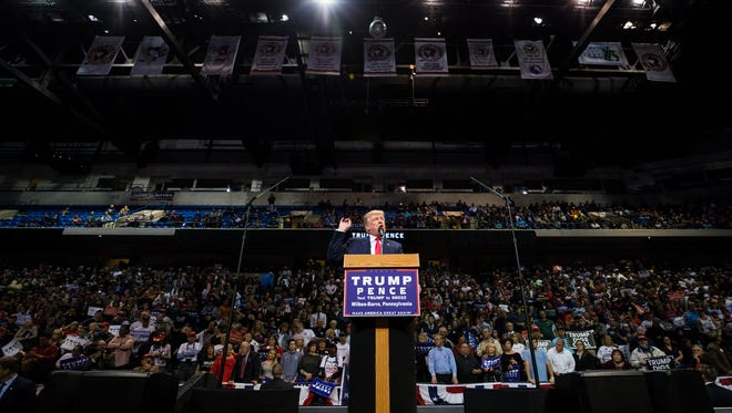 Republican Presidential nominee Donald J. Trump delivers remarks during a rally at Mohegan Sun Arena in Wilkes-Barre Twp., Pa. on Monday, Oct. 10, 2016.