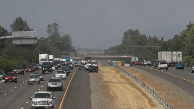 Traffic is backed up on southbound Interstate 5 after a major-injury collision at South Bonnyview Road.