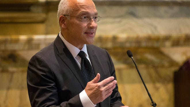 U.S. District Court Judge Gonzalo P. Curiel, an Indiana native, speaks at the Birch Bayh Federal Building and United States Courthouse, Indianapolis, Friday, Oct. 6, 2017. During his speech, Curiel praised the Pleasant Run Panther Bots fourth and fifth grade robotics team for its resilience in the face of racism.