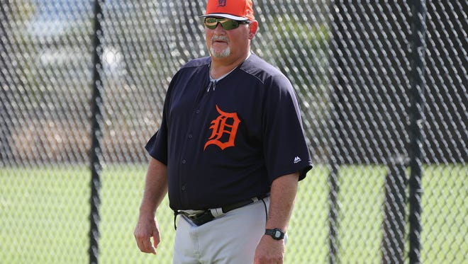 Tigers pitching coach Chris Bosio watches workouts during spring training on Monday, Feb. 19, 2018, at Joker Marchant Stadium in Lakeland, Fla.