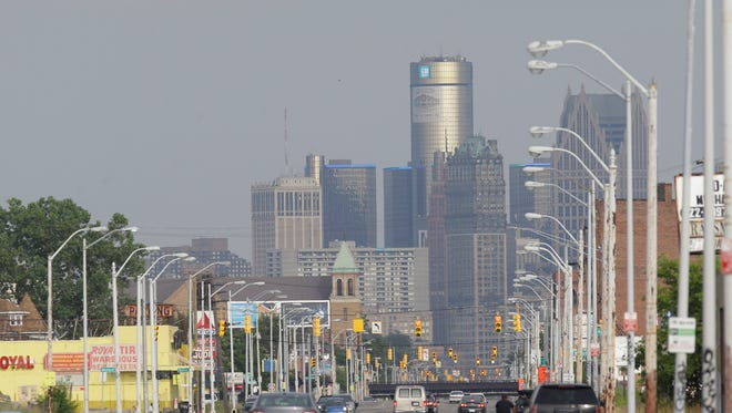 This July 18, 2013 file photo shows the Detroit skyline as seen from Grand River on Thursday, July 18, 2013, in Detroit.