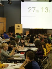 More than 800 middle and high school students took part Tuesday, April 25, 2017, the first Mathematical Problem Solving Contest at the University of Wisconsin-Oshkosh.