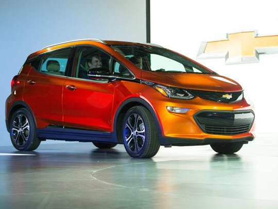 Mary Barra and Mark Reuss arrive in a 2017 Chevrolet