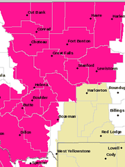 A red flag warning has been issued for much of northcentral and southwestern Montana.