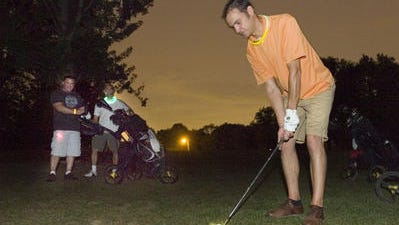 Night golf at Hilltop Golf Course in Plymouth Township.
