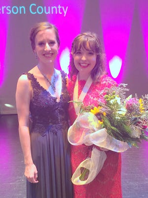 Gabby Coomes, the winner of Saturday evening's Distinguished Young Women program, is shown here at right with last year's local winner, Addie Farley.
