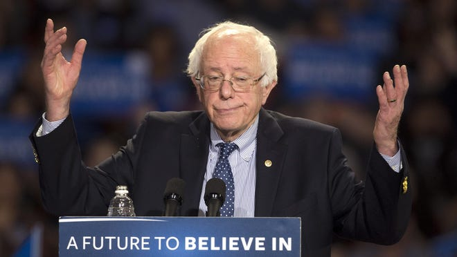 FILE - In this Feb. 21, 2016, file photo, Democratic presidential candidate Sen. Bernie Sanders, I-Vt., speaks during a rally in Greenville, S.C. (AP Photo/John Bazemore, File)