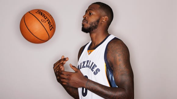 Memphis Grizzlies forward JaMychal Green poses for a picture on NBA basketball media day Monday, Sept. 26, 2016, in Memphis, Tenn. (AP Photo/Mark Humphrey)