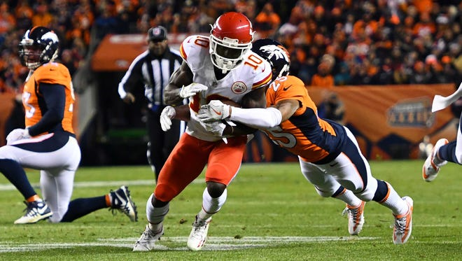Chiefs WR/KR Tyreek Hill (10) scored three TDs vs. the Broncos in the teams' first meeting of 2016.