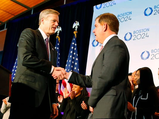 Massachusetts Gov. Charlie Baker, left, shakes hands with Boston Mayor Martin Walsh during a news conference in Boston Friday, Jan. 9, 2015 after Boston was picked by the USOC as its bid city for the 2024 Olympic Summer Games. (AP Photo/Winslow Townson)