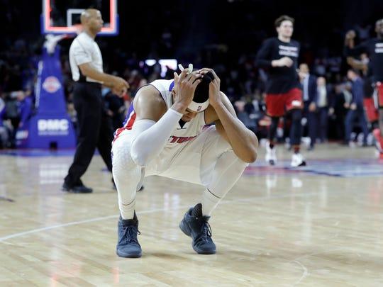 Tobias Harris reacts as the Miami Heat celebrate their