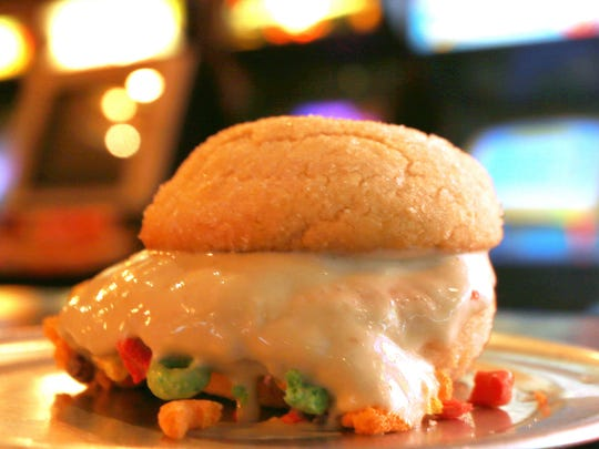 The Fruit Loops Ice Cream Sandwich offers a tasty finish to a delicious meal at Funkmeyers Rec Room.