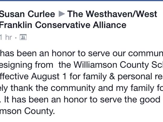 Williamson County school board member Susan Curlee