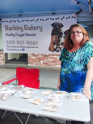 Barbara Bennett is the owner of Barking Bakery, a business that offers homemade healthy doggie treats for dogs of all types and sizes and sells them online as well at the Visalia Farmers Markets in downtown Visalia Thursday evenings and at the Sears parking lot on Mooney Saturday mornings.