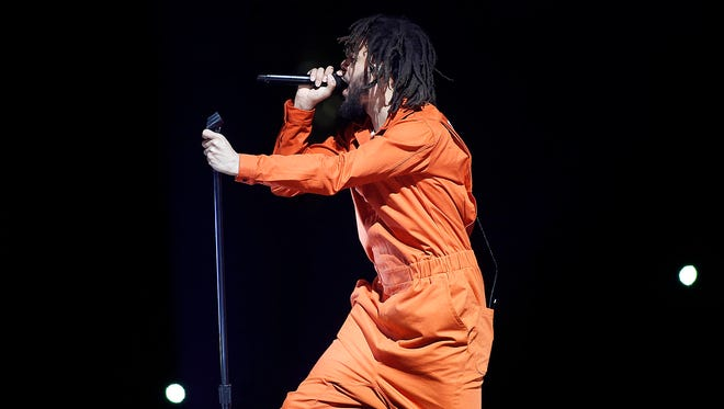 J. Cole performs during his 4 Your Eyez Only World Tour at Talking Stick Resort Arena in Phoenix on Thursday, July, 6, 2017. (Ralph Freso/ Special for azcentral)