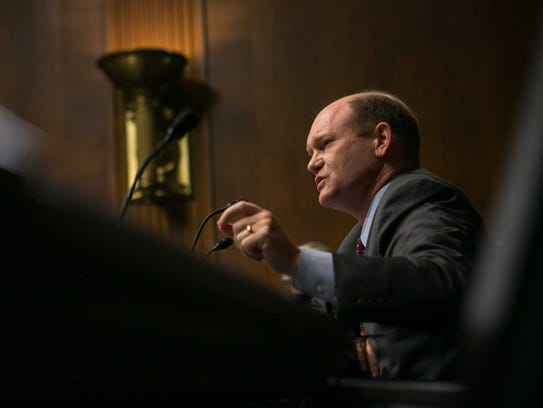 Sen. Chris Coons questions the witnesses at the Senate