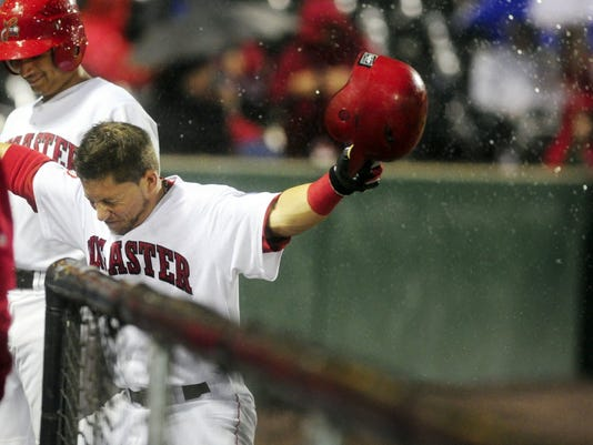 Lancaster Barnstormers teammates showered Blake Gailen with water after he homered against York in the Freedom Division Championship Series. (YDR file)