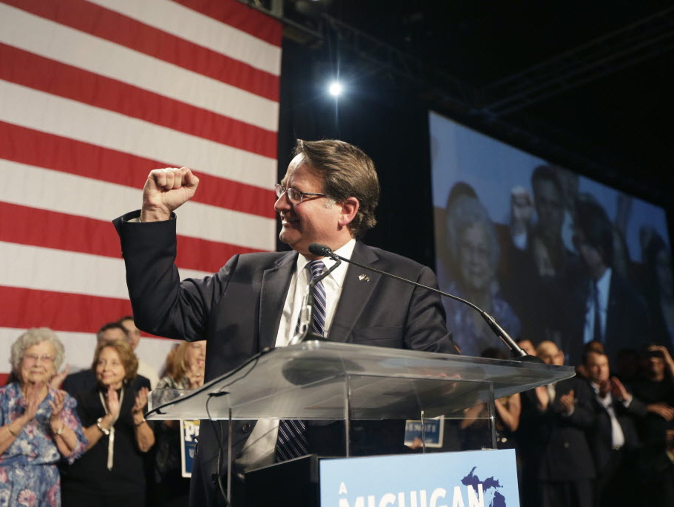Democratic Sen.-elect Gary Peters addresses supporters