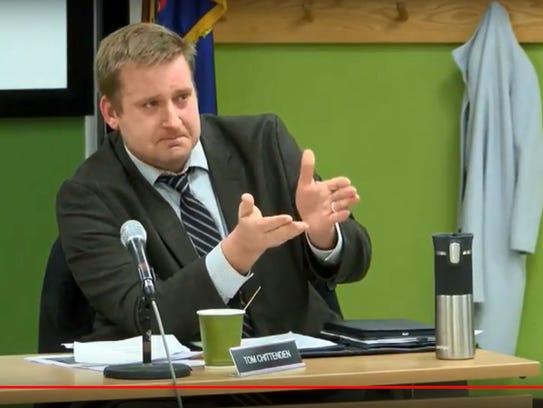 South Burlington City Councilor Tom Chittenden tearfully