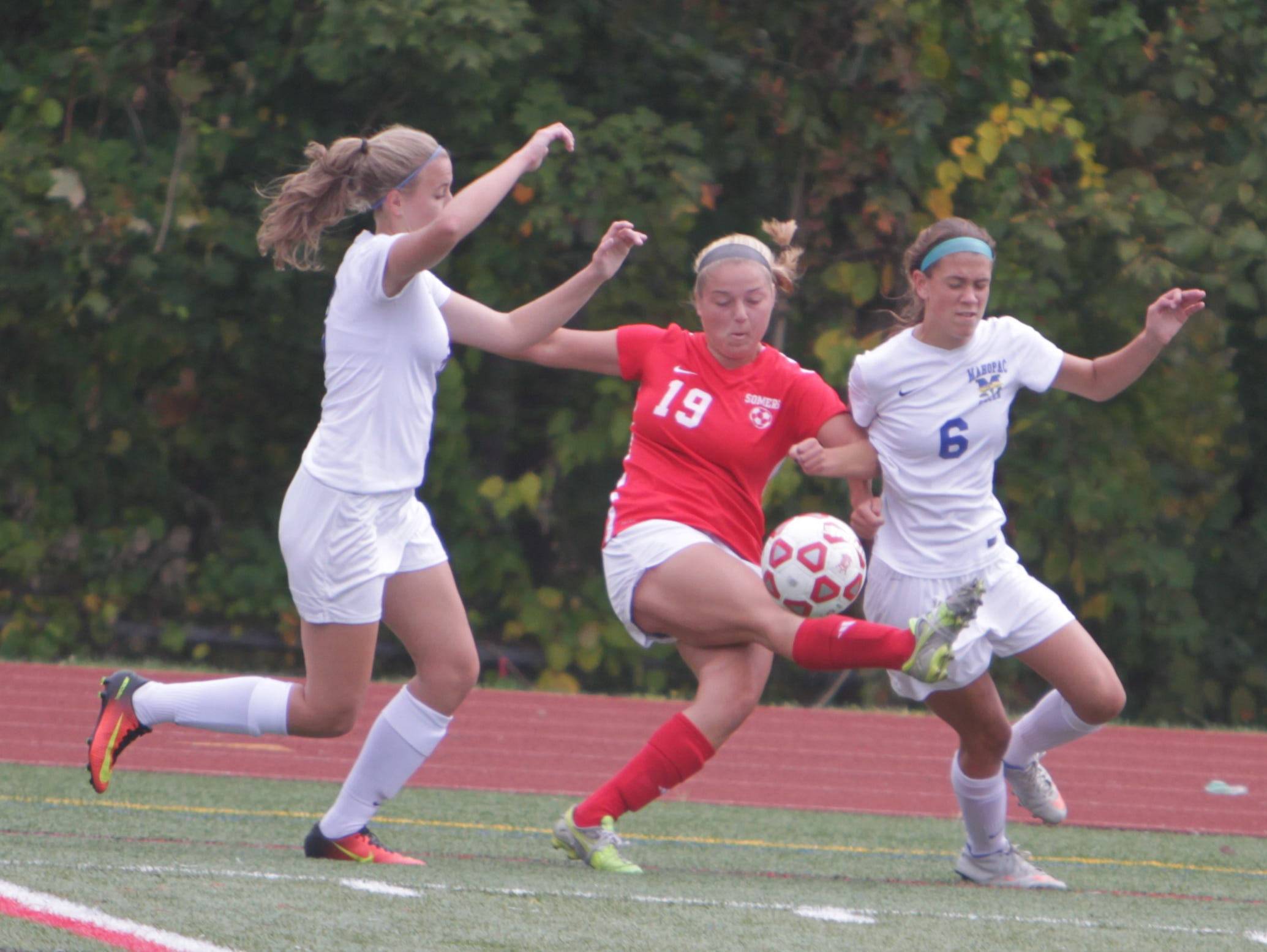Action during a Section 1 girls soccer game between Mahopac and Somers at Mahopac High School on Saturday, Oct. 8th, 2016. Somers won 2-0.