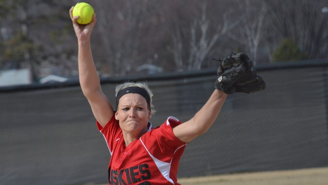 St. Cloud State senior Megan Hedstrom delivers a pitch this season at Selke Field. Hedstrom has thrown a perfect game and won 14 games for the Huskies this season.