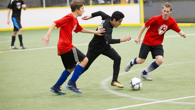 Recreation league players compete at the Arizona Sports Complex in Glendale, Ariz. April 30, 2018.