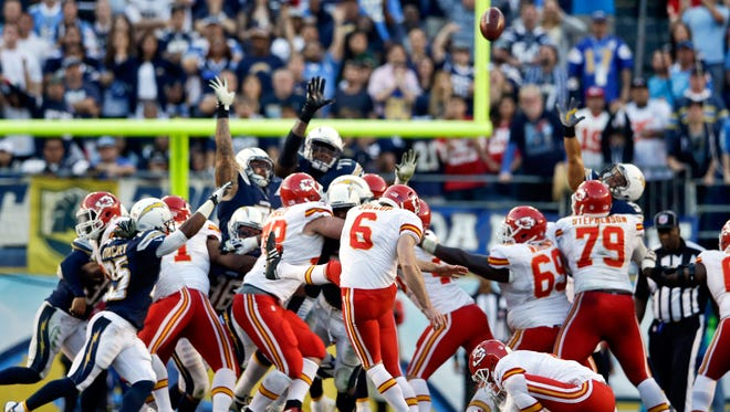Chiefs K Ryan Succop (6) should have had a second chance to beat the Chargers in regulation Sunday.