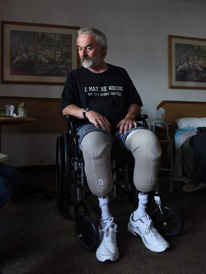 Bill George, who has been homeless for the past 5 years, lost his feet to frostbite this past winter.