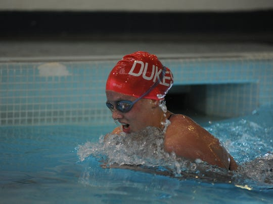 Abby Stauffer of Chambersburg has had a good start to her college career at Duquesne University, particularly in the breaststroke.