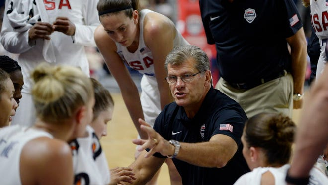 Geno Auriemma guides the U.S. women's basketball team as it seeks a sixth consecutive gold medal.