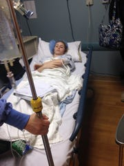 Payton Reuter is shown getting ready to enter surgery Jan. 22.